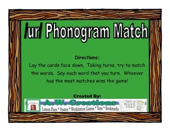 /ur/ Phonogram Match Workstation Game or Small Group Activity