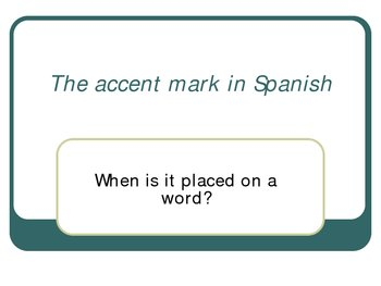 using the accent in Spanish