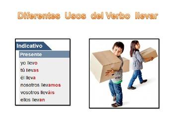 usos del verbo llevar