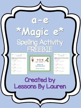 v-c-e *magic e* spelling activity FREEBIE - a-e