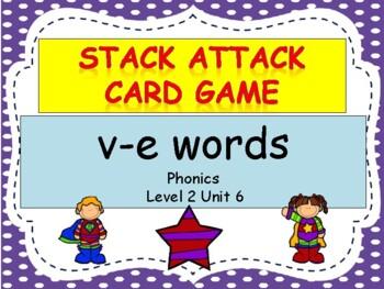 "v-e words ""Stack Attack"" card game"