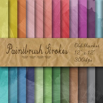 Digital Paper Pack - Paintbrush Strokes - 24 Different Papers - 12 x 12