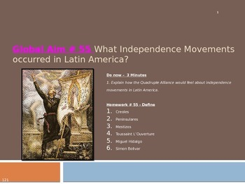 Global Aim # 55 What Independence Movements occurred in Latin America?