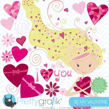 valentine girl clipart commercial use, vector graphics, digital clip art - CL448