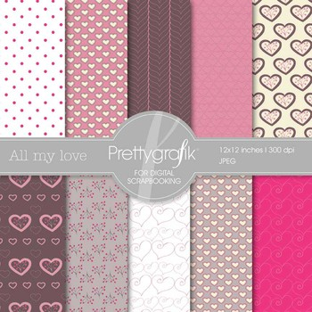 valentine, heart digital paper, commercial use, scrapbook papers - PS540