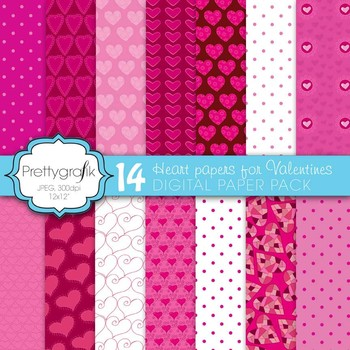 valentine heart digital paper, commercial use, scrapbook papers - PS591