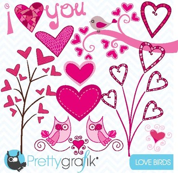 valentine hearts clipart commercial use, vector graphics - CL446