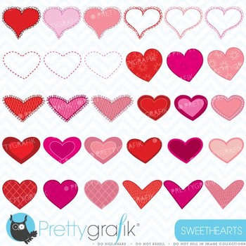 valentine hearts clipart commercial use, vector graphics - CL447