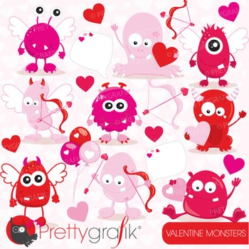 valentine monsters clipart commercial use, vector, digital