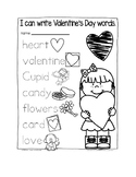 valentine's day writing words