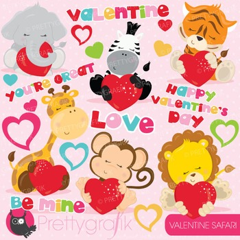 valentine safari clipart commercial use, vector, digital - CL778