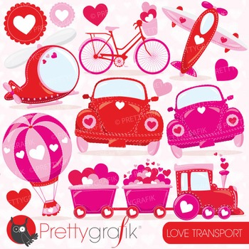 valentine transportation clipart commercial use, vector, digital - CL780