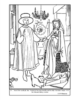 van Eyck.  Arnolfini and Wife.  Coloring page and lesson plan ideas