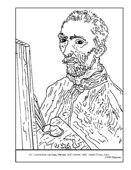 van Gogh.  Self - Portrait.  Coloring page and lesson plan ideas