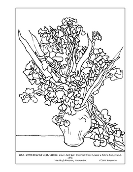 van gogh  still life  irises  coloring page and lesson