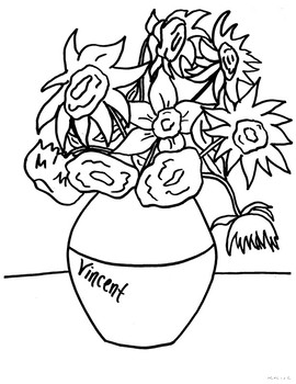 van Gogh Sunflowers Coloring Page by Creativity in ...