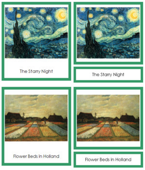 van Gogh (Vincent) 3-Part Art Cards - Color Borders