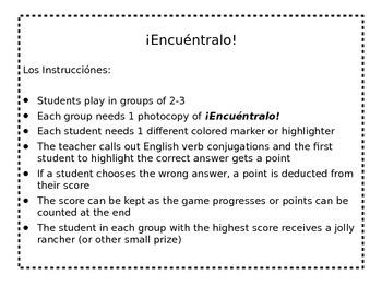 verb find game- regular Spanish present tense AR verbs
