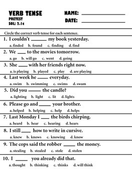 verb tense pre, post, and retests