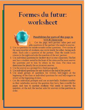 verbes français au futur régulier FRENCH