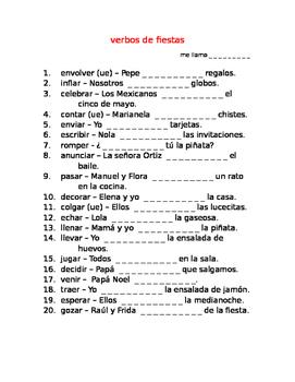 verbos de fiestas SPANISH