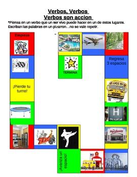 verbos juego verbs game board