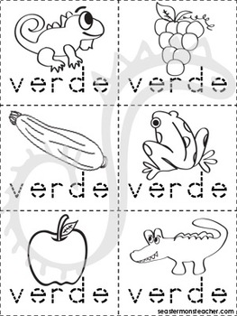 verde color book (Spanish) by Seaster Monsteacher | TpT