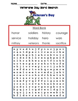 veterans day nov 11th word search! celebrate those who fought for us