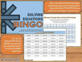 Interactive Solving Equations Bingo Game
