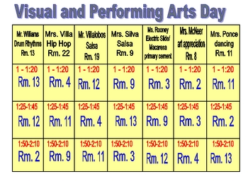 visual and performing arts day and parent night organizational forms