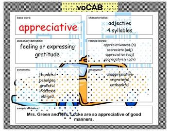 voCAB - appreciative for thanksgiving vocabulary