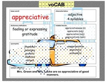 voCAB - appreciative for thanksgiving vocabulary