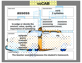voCAB  assess  ( test taking vocabulary )