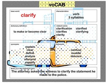 voCAB  clarify  ( test taking vocabulary )