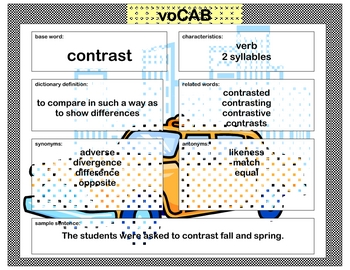 voCAB  contrast ( test taking vocabulary )
