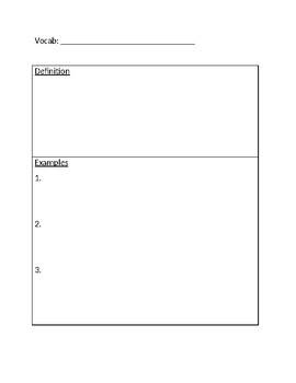 vocab graphic organizer