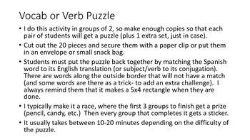 vocab puzzle - family members & celebrations