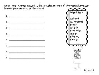 Journey's Second Grade Unit 5 vocabulary scoot