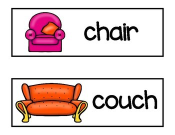 Vocabulary Word Cards--Living Room