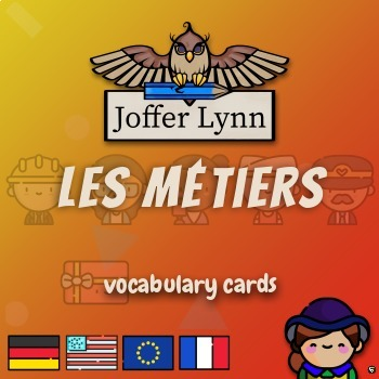 """vocabulary cards """"JOBS"""" flip over (english/french with english explanation)"""