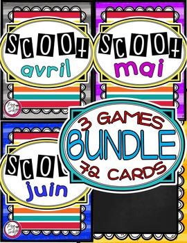 French Vocabulary Game - SCOOT BUNDLE avril à juin