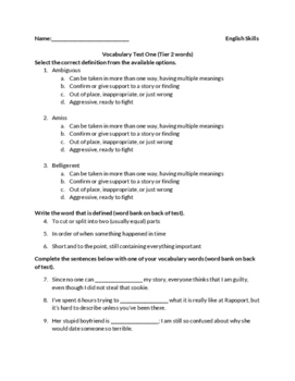 vocabulary test for tier two vocabulary words (best for 8th or 9th grade)