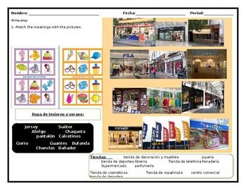vocabulary worksheet, tiendas, going shopping, multilevel Spanish