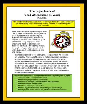 Employability Skills -THE IMPORTANCE OF GOOD ATTENDANCE AT WORK Career Readiness