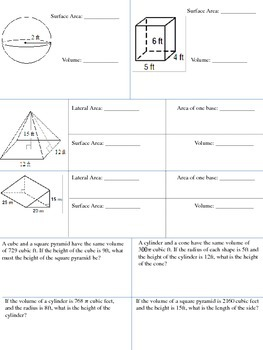 Volume and Surface Area Test/Packet - Geometry NO PREP!