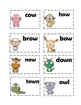 vowel sound /ou/ ou and ow cards