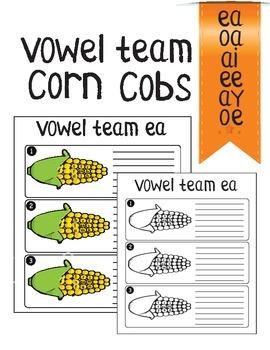 vowel team corn cobs (ea, ee, oa, oe, ai, ay)