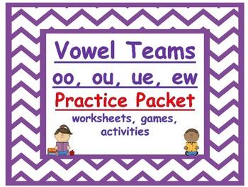 vowel teams oo, ou, ue, and ew