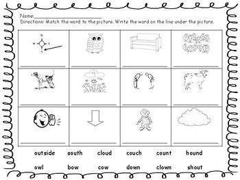 vowel teams ou and ow