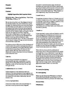w e b dubios rhetorical analysis for returning soldier Harlem Renaissance